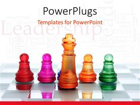 PowerPlugs: PowerPoint template with glowing chess board with colored chess pieces and king piece leading