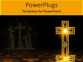 PowerPlugs: PowerPoint template with glowing Christian cross with crucifixion statues in background, water reflection, Christianity, church, faith
