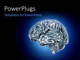PowerPoint template displaying glowing chrome brain on dark blue background