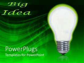 PowerPlugs: PowerPoint template with glowing classic light bulb and green big idea on green and black background
