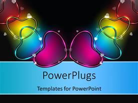 PowerPlugs: PowerPoint template with glowing colorful heart shaped symbols over black background