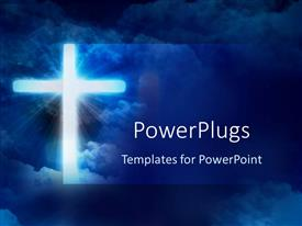 PowerPlugs: PowerPoint template with glowing cross in front of sky, Christianity, Christian, religion, faith, church