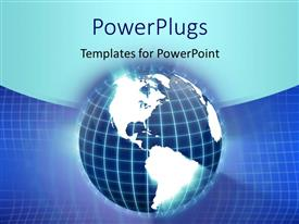 PowerPlugs: PowerPoint template with glowing earth globe on abstract background with grid lines