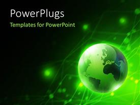 PowerPlugs: PowerPoint template with glowing earth globe on digital background with connected lighted dots