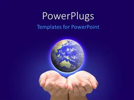 PowerPlugs: PowerPoint template with glowing earth globe in human hand over blue background