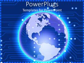 PowerPlugs: PowerPoint template with glowing Earth globe world on circuit board background, technology, IT, global communications, networking