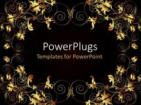 PowerPlugs: PowerPoint template with glowing flowery artwork on black background