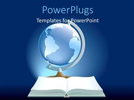 PowerPoint template displaying glowing globe with blank open book over blue background