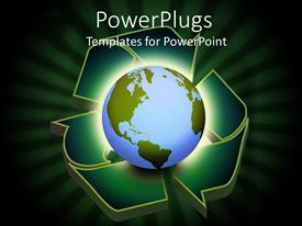 PowerPlugs: PowerPoint template with glowing globe placed on recycle symbol