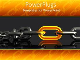 PowerPlugs: PowerPoint template with glowing gold link in steel chain, orange chain border