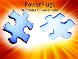 PowerPlugs: PowerPoint template with glowing gradient jigsaw puzzle with one missing piece and jigsaw puzzle piece ready to take its place in puzzle game