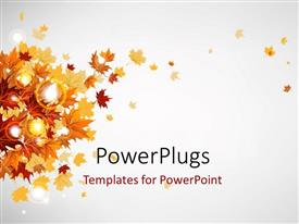 PowerPlugs: PowerPoint template with glowing grey background with autumn leaves on left side