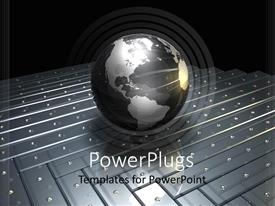 PowerPoint template displaying glowing grey globe resting on metallic surface