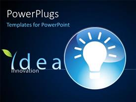 PowerPlugs: PowerPoint template with glowing light bulb in blue circle depicting innovation and bright ideas