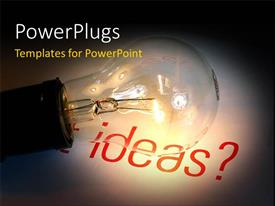 PowerPlugs: PowerPoint template with glowing light bulb in dark depicting bright and creative idea