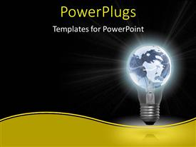 PowerPlugs: PowerPoint template with glowing light bulb with earth globe as filament on black background