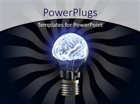 PowerPlugs: PowerPoint template with glowing light bulb with human brain as filament depicting ideas
