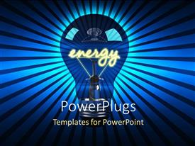 PowerPlugs: PowerPoint template with glowing light bulb with text ENERGY depicting bright ideas