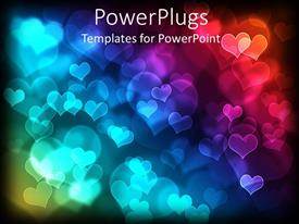 PowerPlugs: PowerPoint template with glowing loves shapes of different sizes over black background