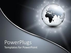 PowerPlugs: PowerPoint template with glowing metallic gray globe on sparkling stardust on gradient gray background