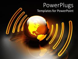 PowerPoint template displaying glowing orange and gold globe with sound energy waves surrounding the globe on reflecting surface