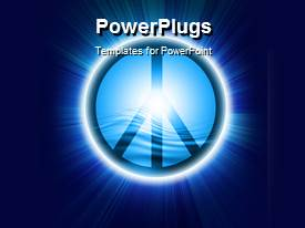 PowerPoint template displaying glowing peace symbol with blue color