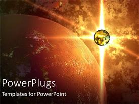 PowerPoint template displaying glowing planet beside large planet, outer space, universe, astronomy