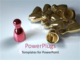 PowerPoint template displaying glowing red chess piece wins against multiple gold pieces
