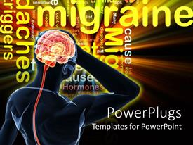 PowerPlugs: PowerPoint template with glowing silhouette of human body with glowing brain thinking and word cloud with migraine headaches words