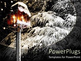 PowerPlugs: PowerPoint template with glowing snow covered lantern next to frosty pine tree