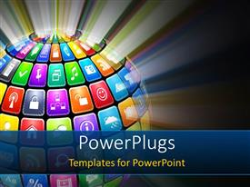 PowerPlugs: PowerPoint template with glowing sphere from colored application icons with a glowing background