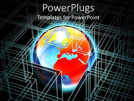 PowerPlugs: PowerPoint template with glowing world surrounded by wire frame, IT, computer science