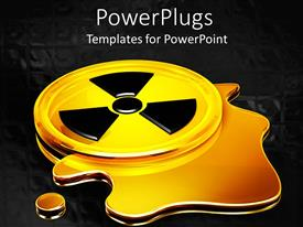 PowerPlugs: PowerPoint template with glowing yellow black radiation warning symbol with puddle liquid leak and black background