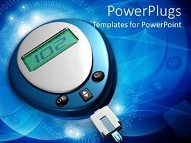 PowerPlugs: PowerPoint template with glucometer showing 102 glucose level in blue color background