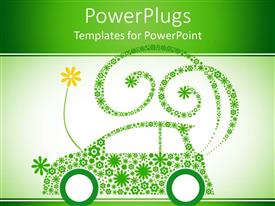 PowerPoint template displaying go green with light and dark green color mixes showing a car made of flowers