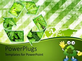 PowerPoint template displaying go green recycle environmental green leaves