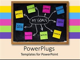 PowerPoint template displaying goal map with colorful sticky notes on black board with white chalk