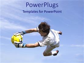 PowerPlugs: PowerPoint template with a goalkeeper holding the football in the air