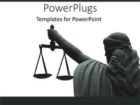 PowerPoint template displaying goddess of justice woman statue holding scales of justice on white background