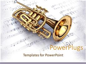 PowerPlugs: PowerPoint template with gold 3D colored trumpet on a white music note