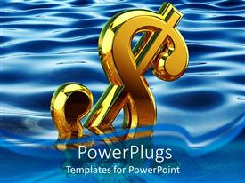 PowerPlugs: PowerPoint template with gold 3D dollar sign floating in water, economy, finance