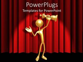 PowerPlugs: PowerPoint template with gold 3D figure holding gold award statuette on red curtain background