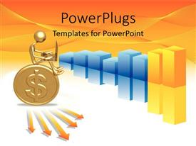 PowerPlugs: PowerPoint template with gold 3D man sits on gold coin with colored bars