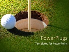 PowerPoint template displaying a gold ball with a hole in the ground