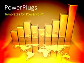 PowerPlugs: PowerPoint template with gold bar chart behind world map
