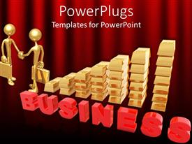 PowerPlugs: PowerPoint template with gold bars forming a bar chart with two human figures shaking hands