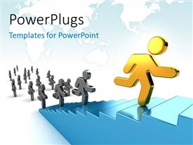 PowerPlugs: PowerPoint template with some gold and black characters running on a blue stairs with the gold one leading