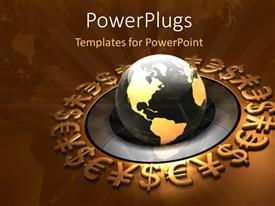 PowerPlugs: PowerPoint template with gold and black colored earth globe on a gold background