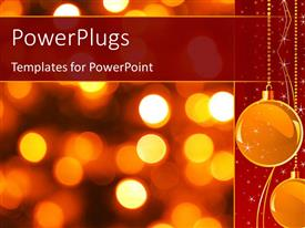 PowerPoint template displaying gold Christmas background with luminous lanterns