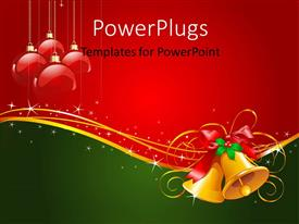 PowerPoint template displaying gold Christmas bells with bow and red ornaments